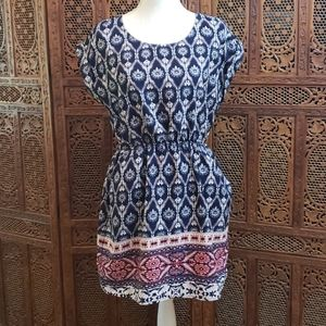 Blue Pink and White Dress Aztec Print size Large